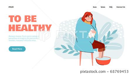 Woman with flu virus or cold disease symptom soaking feet in hot water 68769453