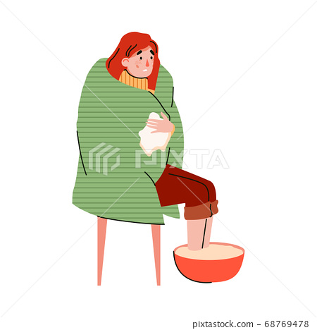 Home treatment for cold and flu procedure flat vector illustration isolated. 68769478