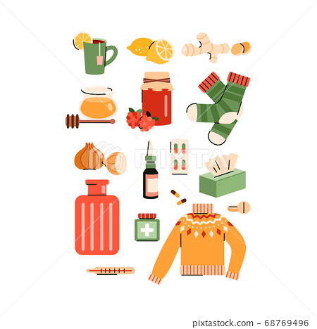 Set of natural remedies for flu home treatment flat vector illustration isolated 68769496