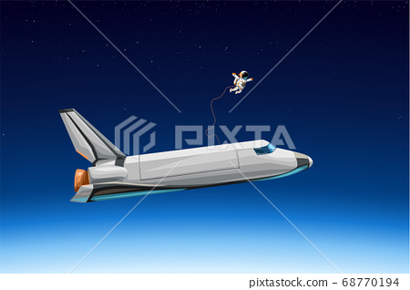 space shuttle with astronaut flying at orbit 68770194