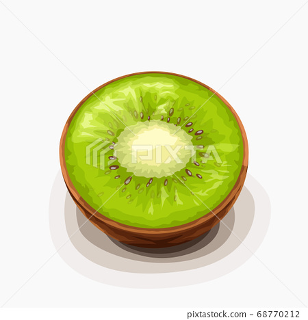 kiwi fruit half lying on white back 68770212