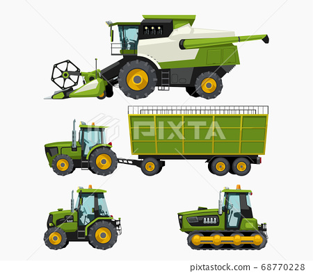 farm vehicles set isolated on white back 68770228