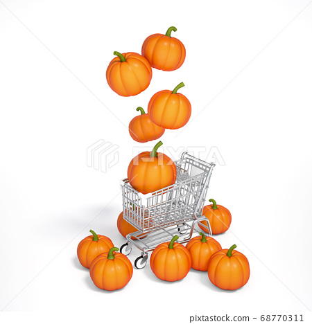 Halloween pumpkin floating on shopping cart with white background 3d rendering. 3d illustration pumpkin for celebration Halloween event template minimal style concept. 68770311