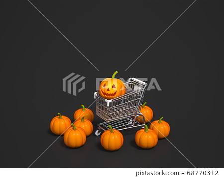 Halloween pumpkin with shopping cart on black background 3d rendering. 3d illustration pumpkin for celebration Halloween event template minimal style concept. 68770312