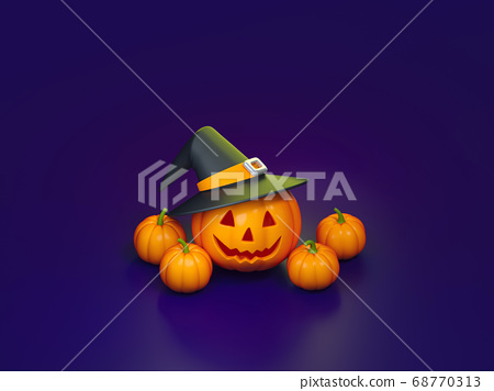 Halloween pumpkin with witch on violet background 3d rendering. 3d illustration cute pumpkin for celebration Halloween event template minimal style concept. 68770313