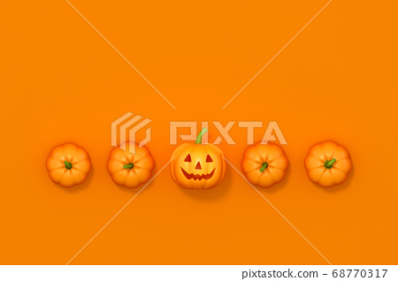 Halloween pumpkin in row on orange background 3d rendering. 3d illustration pumpkin for celebration Halloween event template minimal style concept. 68770317