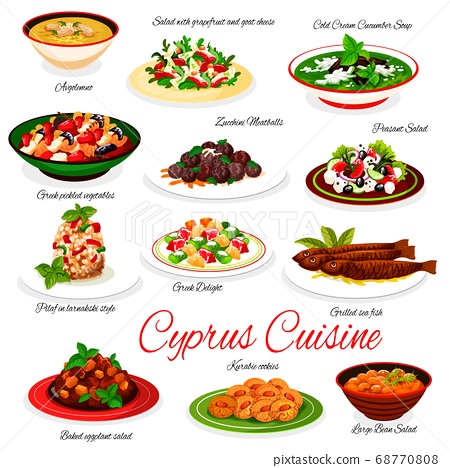 Cyprus cuisine vector menu Cyprian national dishes 68770808