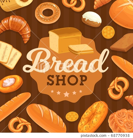 Bakery shop fresh bread and pastry vector poster 68770938