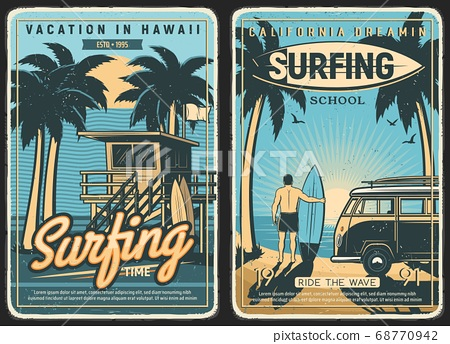 Surfing retro poster, surf beach summer, surfer 68770942