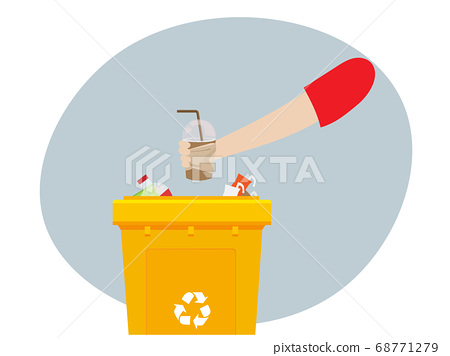 The concept of separation and dumping of plastic waste in recycling bins. 68771279