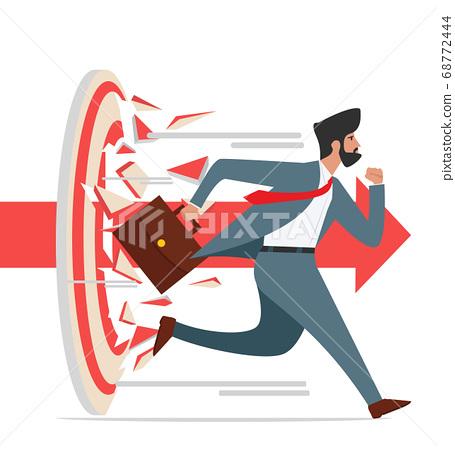businessman character run Breaking target archery 68772444