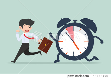 businessman Running with big ringing timer clock 68772450