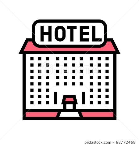 hotel building color icon vector illustration 68772469
