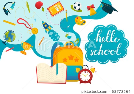 Back to school concept, vector illustration. Lettering greeting realistic learning. Child learning in class. Equipment cabinet university. 68772564