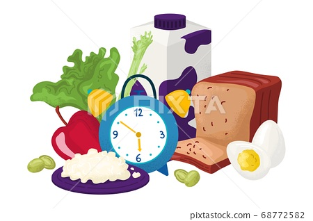 Healthy breakfast for gourmet vector illustration. Fresh products for your morning snack. Delicious food, milk, fruit, bread on table. 68772582