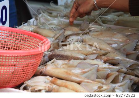 tasty  squid on thailand bangkok street, fresh fish market 68772822