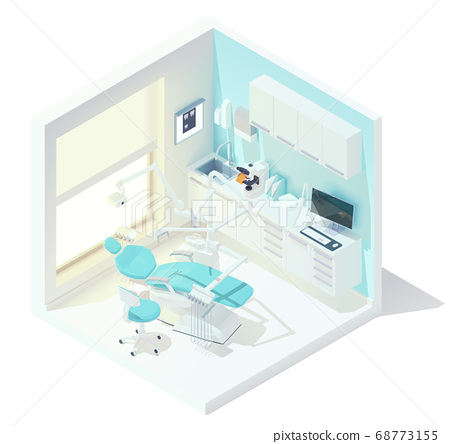 Vector isometric low poly dental office 68773155