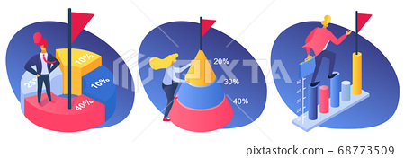 Business people achievement with percentage graph, success finance growth to goal vector illustration. Corporate marketing diagram 68773509