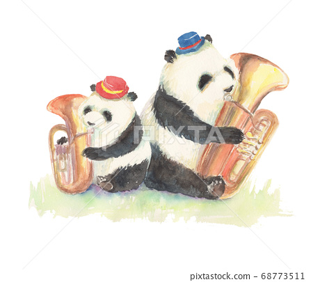 Illustration of a panda playing a tuba drawn in watercolor 68773511