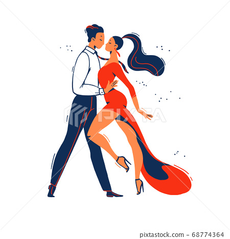 Man and woman tango dancers from side view standing together isolated on white background. 68774364