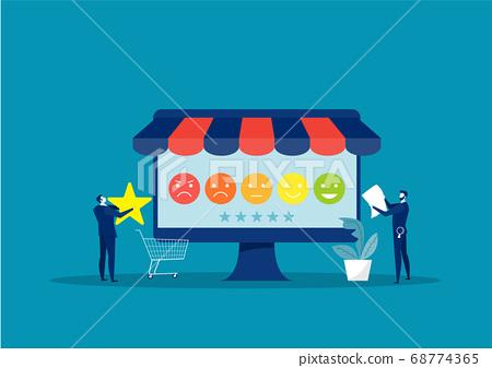 Businessman analysis from Customer Feedback concept. Illustration 68774365