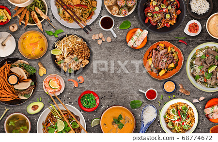 Asian food background with various ingredients on 68774672