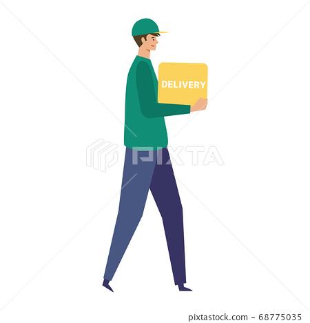 交付,快遞送貨人圖 68775035