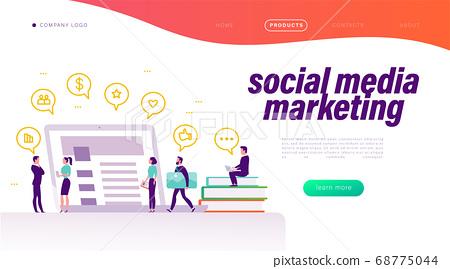 Social media marketing concept. Landing page design template, mobile app, ui. 68775044