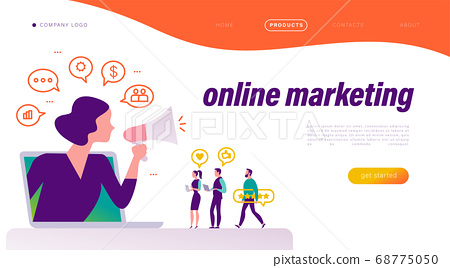 Online marketing concept. People at laptop with review icons, woman with megaphone metaphor.  68775050