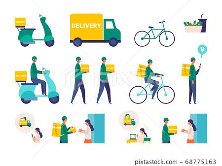 送餐和快遞的圖像插圖 68775163