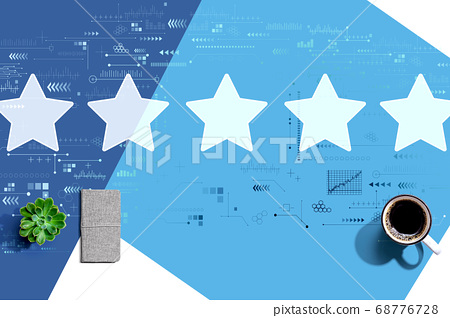 Rating star concept with a cup of coffee 68776728