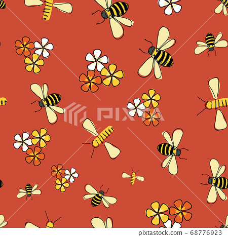 spring flight, Bees and flowers seamless pattern Vector on orange background. 68776923
