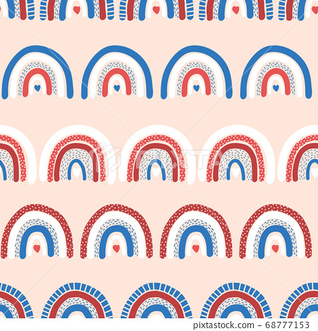 Childish rainbow background seamless. Repeating hand drawn vector pattern with red blue white 68777153