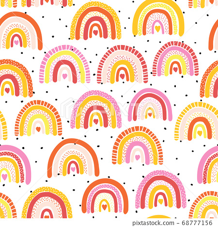 Childish seamless pattern with colorful hand drawn rainbow and dots. Trendy kids vector background 68777156