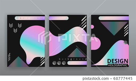 Holographic abstract page templates set, retro 68777445