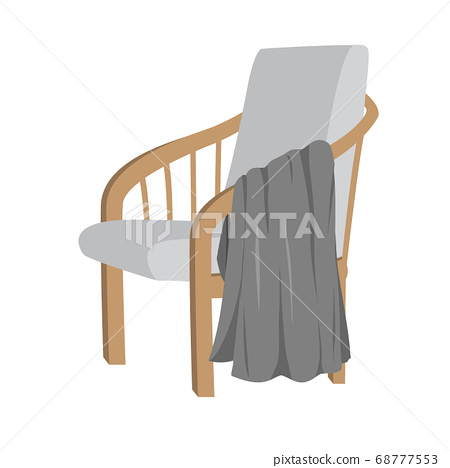 Scandinavian style modern gray armchair with wooden legs and plaid, isolated on white background. Vector flat illustration. Furniture, interior object, stylish armchair. Single piece of furniture 68777553
