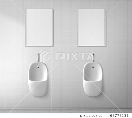 White ceramic urinal and frame in male toilet 68778151