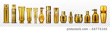 Gold cosmetic bottles mockup, cosmetics tubes set 68778160
