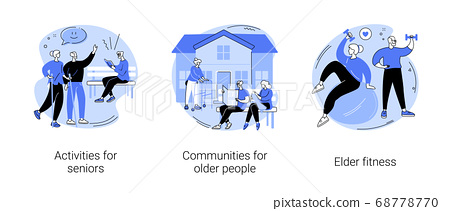Retiree lifestyle abstract concept vector illustrations. 68778770