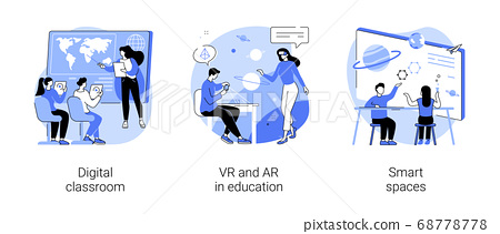 Interactive learning abstract concept vector illustrations. 68778778