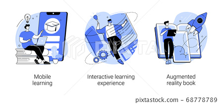 Interactive learning abstract concept vector illustrations. 68778789
