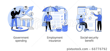 Country budget abstract concept vector illustrations. 68778792