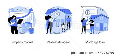 Buying property abstract concept vector illustrations. 68778799