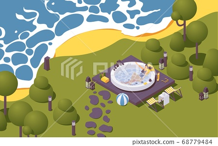 Vector isometric large outdoor spa pool near the 68779484