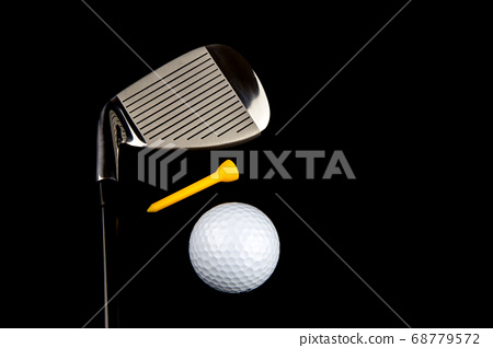 Golf Club with Ball and Tee on Black Background 68779572