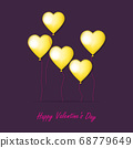 Valentine card with hearts collage. 3d vector. 68779649