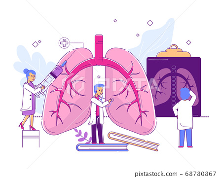 Character professional doctor, tiny male female scientific staff study line organ disease isolated on white, flat vector illustration. 68780867