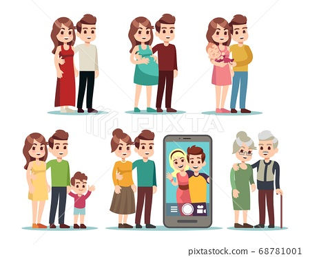 Happy family stages. Cartoon kid parents, young mom father and baby. Isolated pregnant woman, video call with son. Male female different ages vector illustration 68781001