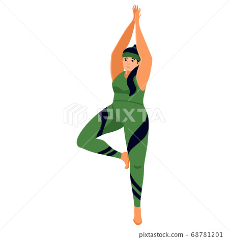 White woman in yoga pose on white isolated 68781201