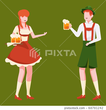 Bavarian couple with beer on green backdrop 68781242